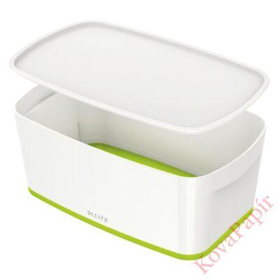 Tároló doboz LEITZ Wow Mybox fedeles műanyag kicsi fehér/zöld