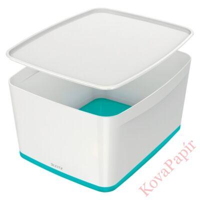 Tároló doboz LEITZ Wow Mybox fedeles műanyag nagy fehér/jégkék
