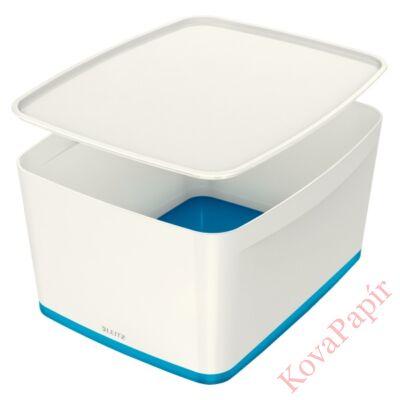Tároló doboz LEITZ Wow Mybox fedeles műanyag nagy fehér/kék
