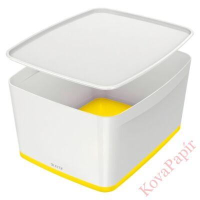Tároló doboz LEITZ Wow Mybox fedeles műanyag nagy fehér/sárga