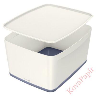 Tároló doboz LEITZ Wow Mybox fedeles műanyag nagy fehér/szürke